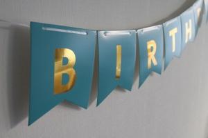 Blauwe slinger happy birthday