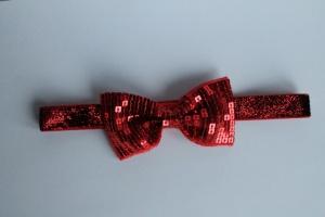Haarbandje rode glitter strik