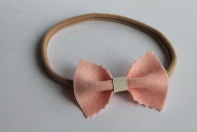 Haarband roze gekartelde sparkle strik