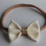 Haarbandje dubbele witte sparkle strik