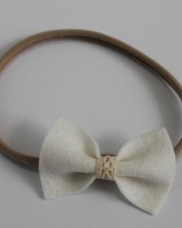 Nylon haarbandje witte vlinderstrik met kant