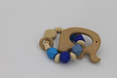Houten handgemaakte bijtring blue elephant