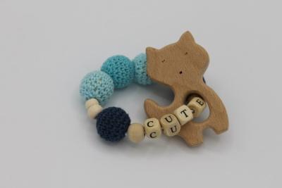 Houten handgemaakte bijtring cute blue cat