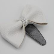 Zilver haarspeldje witte strik