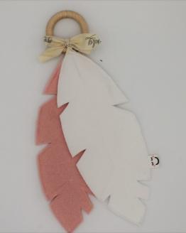 Knuffelveren roze en wit