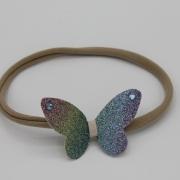 Nylon haarbandje met sparkling regenboog vlinder
