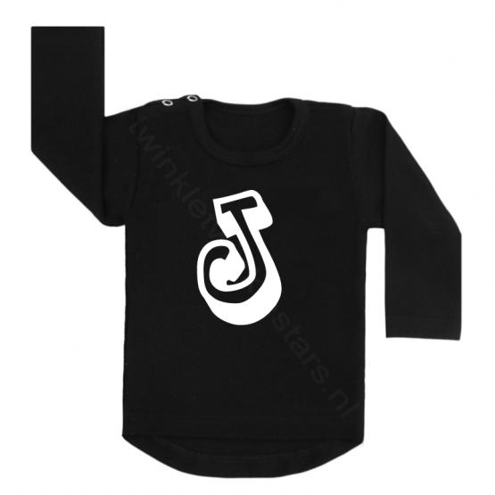 Longsleeve zwart letter J choose