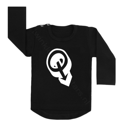 Longsleeve zwart letter Q choose