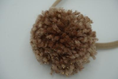 Haarbandje bruine sparkle pompom XL