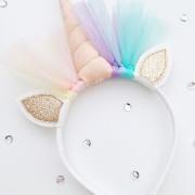 Unicorn diadeem perzik goud