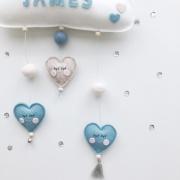 Naam mobile blauwe hartjes
