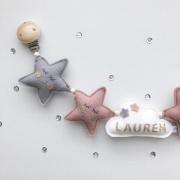 Gepersonaliseerde wagenspanner grijze en oudroze sterren