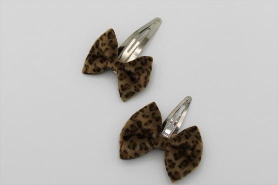 Haarspeldje met leopard strik