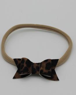 Nylon haarbandje met PU leren leopard strik