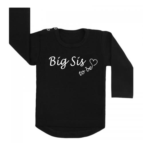 Shirt Big Sis To Be zwart