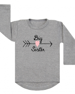 Shirt Big Sister Heart grijs