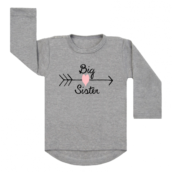 Shirt Big Sister Heart grijs