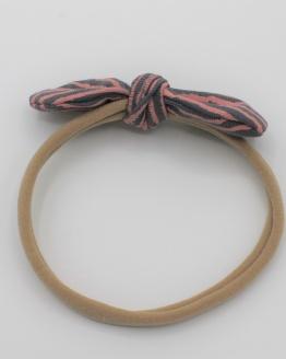 Haarband tricot grijs roze gestreepte strik