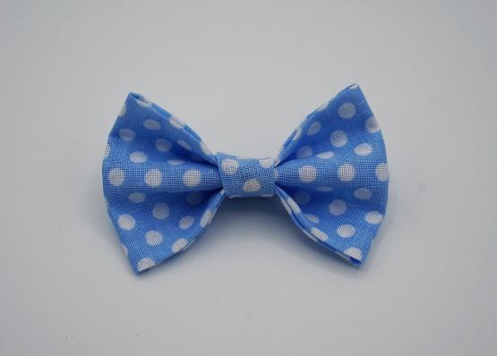 Haarspeldje blauw dots strikje