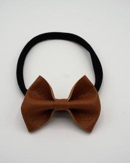 Zwart nylon haarbandje met PU leren cognac strik