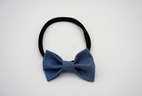 Zwart nylon haarbandje met denim strik