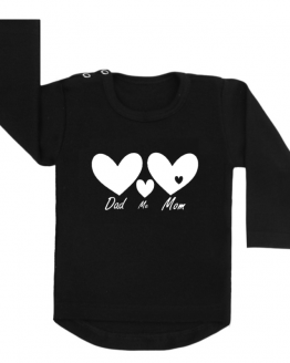 shirt dad me mom zwart