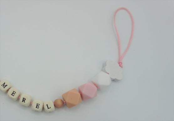 Gepersonaliseerd speenkoord pink cloud