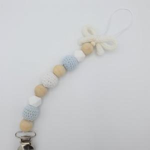 Handgemaakt speenkoord gepunnikt wit strikje