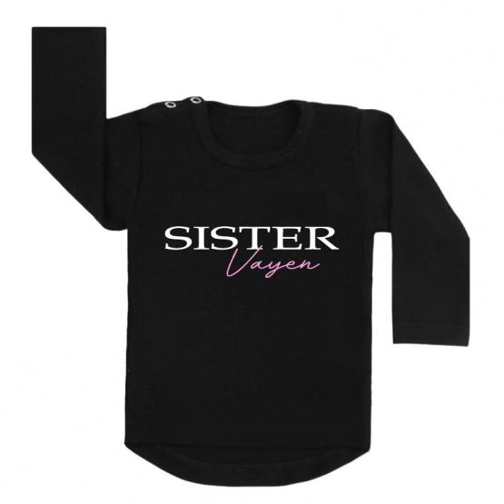 Sister en naam shirt zwart