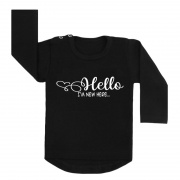 hello new here shirt zwart