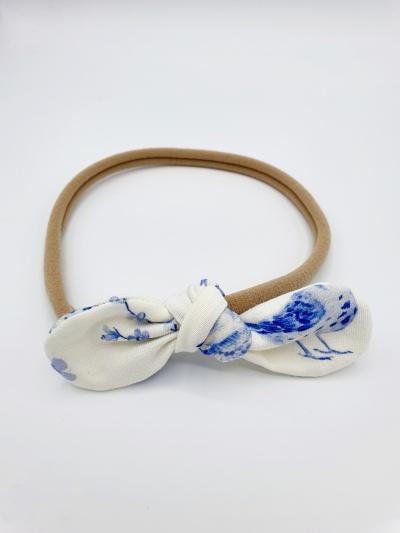 Haarband tricot blue birds strik