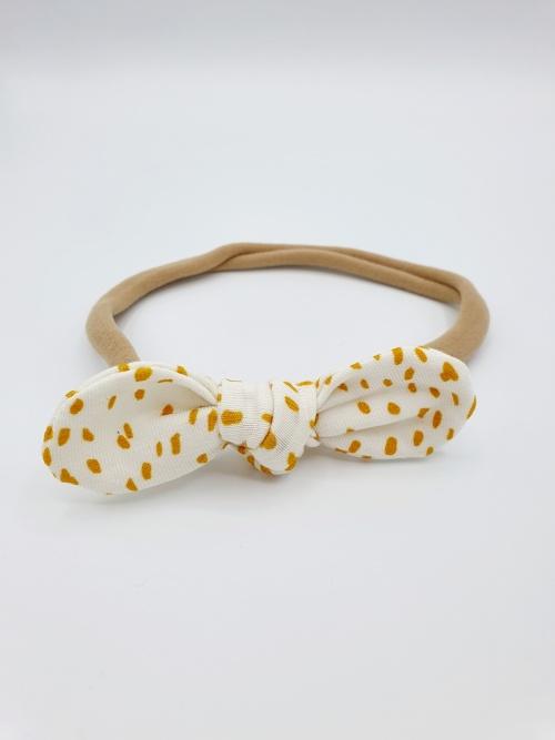 Haarband tricot oker dots strik