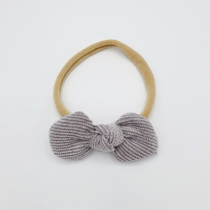 Haarband grijze corduroy strik