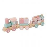 Little Dutch houten trein met geboortegegevens roze