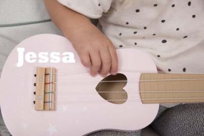 little dutch gitaar roze bedrukt met naam