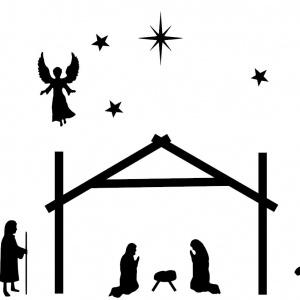 raamsticker kerststal