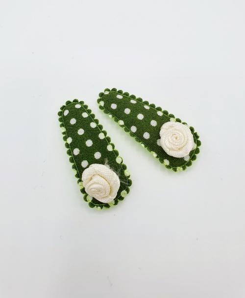 Baby haarspeldjes groen met roosjes