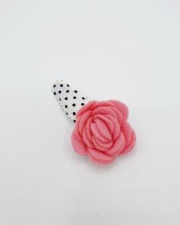 Dots haarspeldje met roze bloem