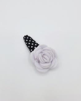 Dots haarspeldje met witte bloem