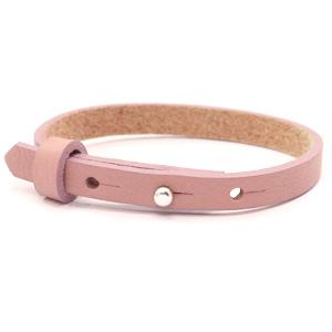 leren SOS armband oudroze