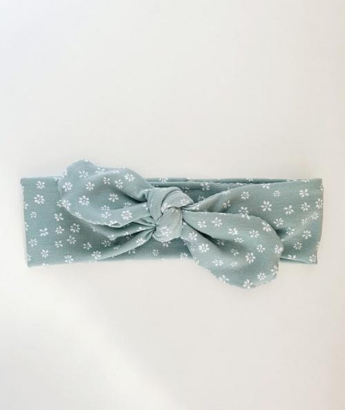 Wrap haarband mintgroen bloemetjes
