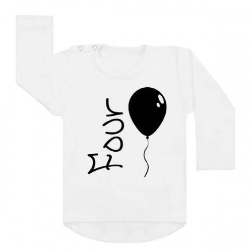 shirt verjaardag ballon vier. Verjaardagsshirt vierde verjaardag. Ook als strijkapplicatie beschikbaar. De leukste strijkapplicaties en shirts voor verjaardagen! Vier de verjaardag van je kind in stijl met onze verjaardagsshirts.