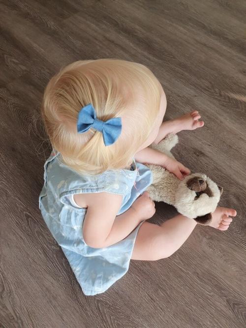 Baby haarspeldje denim strik