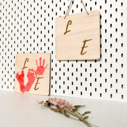 DIY houten bord love
