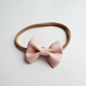 Haarband roze linnen strik